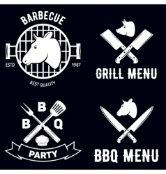BBQ graphic flat emblems with grill forks spatulas vector image vector image