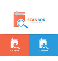 book and loupe logo combination library vector image vector image
