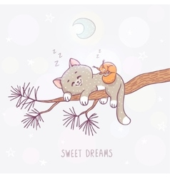 cat sleeps on a branch vector image vector image