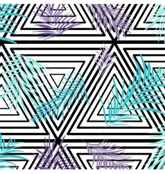 palm leaves on monochrome triangle vector image vector image