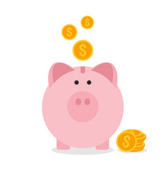 piggy bank flat design saving money concept vector image