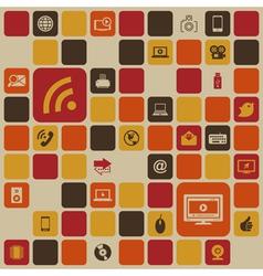 Social media retro background vector image vector image