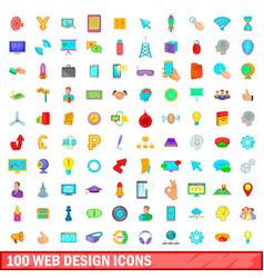 100 web design icons set cartoon style vector image vector image