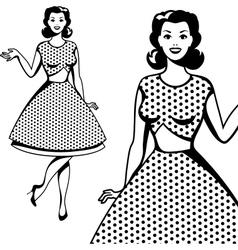 Beautiful retro girl in pop art style vector image