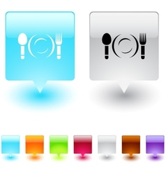 dinner square button vector image vector image