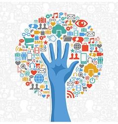 Diversity social media hand tree vector image vector image