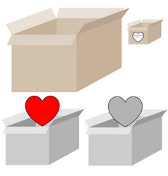 grey and light brown present box with heart for vector image vector image