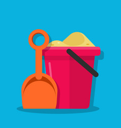 plastic bucket and shovel children set for vector image vector image