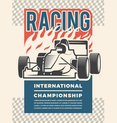 poster or placard for motosport vintage vector image vector image