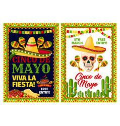cinco de mayo mexican holiday card of fiesta party vector image