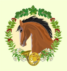 Dark Horse head of stallion leaves and french horn vector image vector image