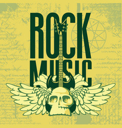 Music banner with electric guitar wings and skull vector