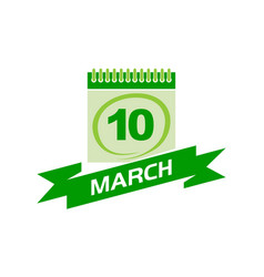 10 march calendar with ribbon vector