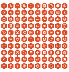 100 graphic elements icons hexagon orange vector