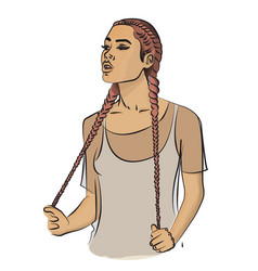 A girl with long pale pink hair braided in braids vector