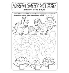 Activity sheet dinosaur theme 2 vector