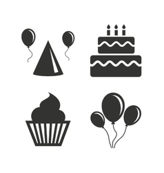 Birthday party Cake balloon hat and muffin vector