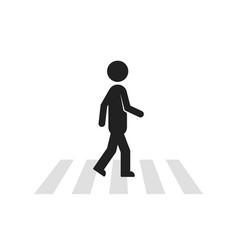 Black stick figure man like pedestrian vector