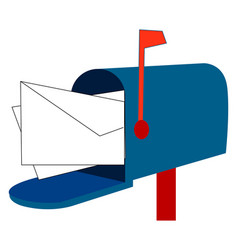 blue mail box on white background vector image