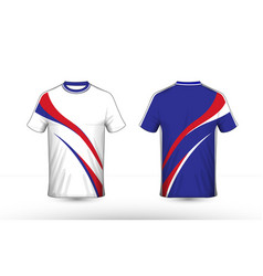 Blue white and red layout e-sport t-shirt design vector