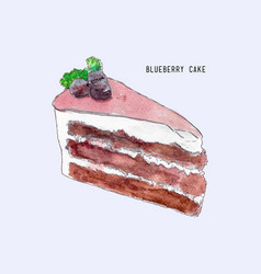 Blueberry layer cake hand drawn sketch water vector