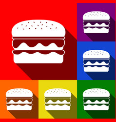 burger simple sign set of icons with flat vector image