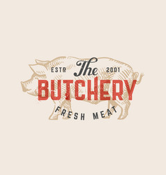 Butcher shop vintage logo vector