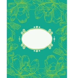 card with green flowers vector image