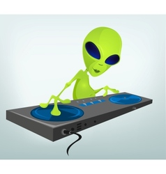 Cartoon alien DJ vector image