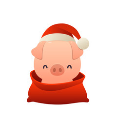 cartoon cute pig in santa claus hat and red bag vector image