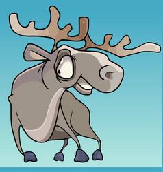 Cartoon horned smiling elk with big eyes vector