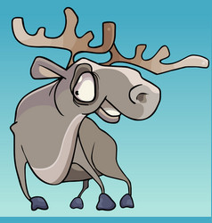 cartoon horned smiling elk with big eyes vector image