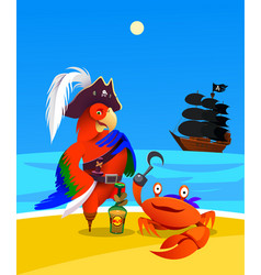 cartoon pirate parrot and crab character design vector image