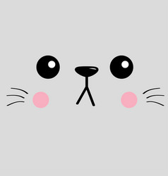 cat sad head face silhouette square icon contour vector image