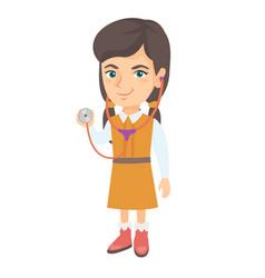 Caucasian girl in doctor coat holding stethoscope vector