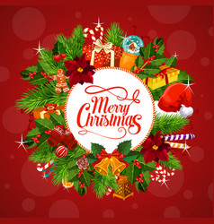 Christmas gifts on wreath greetings vector