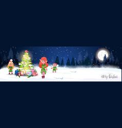 Christmas poster design winter forest landscape vector
