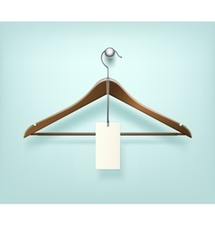 Clothes Coat Brown Wooden Hanger with Sale Label vector image