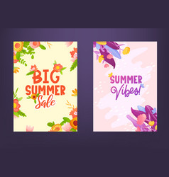 Colorful flowers and text lettering ad posters vector
