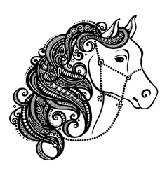 Decorative Horse with Patterned Mane vector