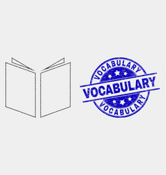 Dot open book icon and scratched vocabulary vector