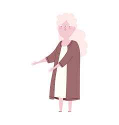 elderly woman grandma long hair cartoon character vector image