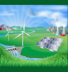 Electricity or power generation methods vector
