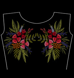 Embroidery patch fashion neckline flowers vector