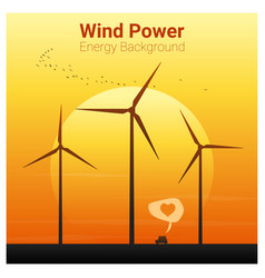 Energy concept background with wind turbine 16 vector