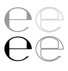 Estimated sign e mark symbol e icon outline set vector