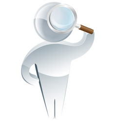 examining with a magnifying glass vector image