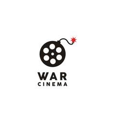 film reel bomb for movie cinema creative logo vector image