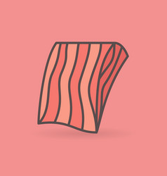 Flat salmon or trout fillet icon on pink vector