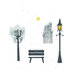 Flat streetlight bench tree bush icon vector